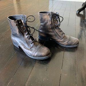Black Leather Aldo Combat Boots